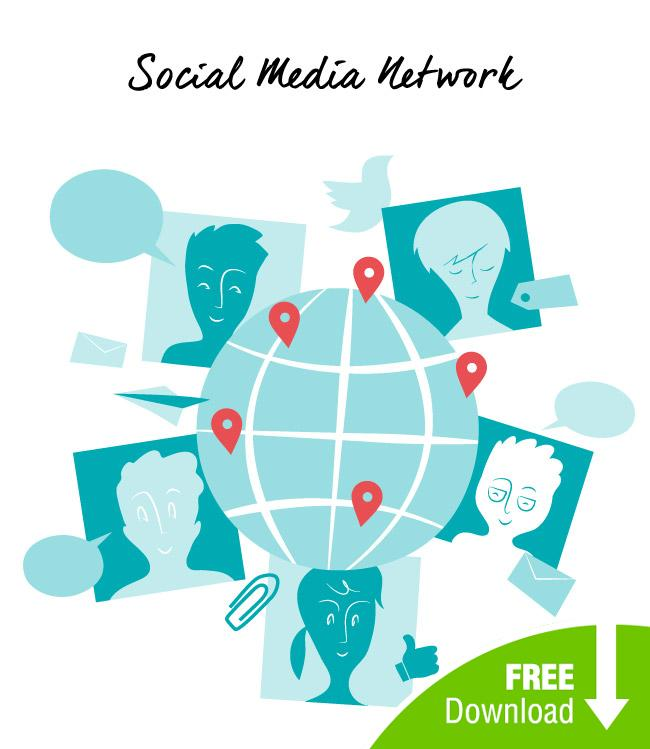 Social Media Network Free Vector art