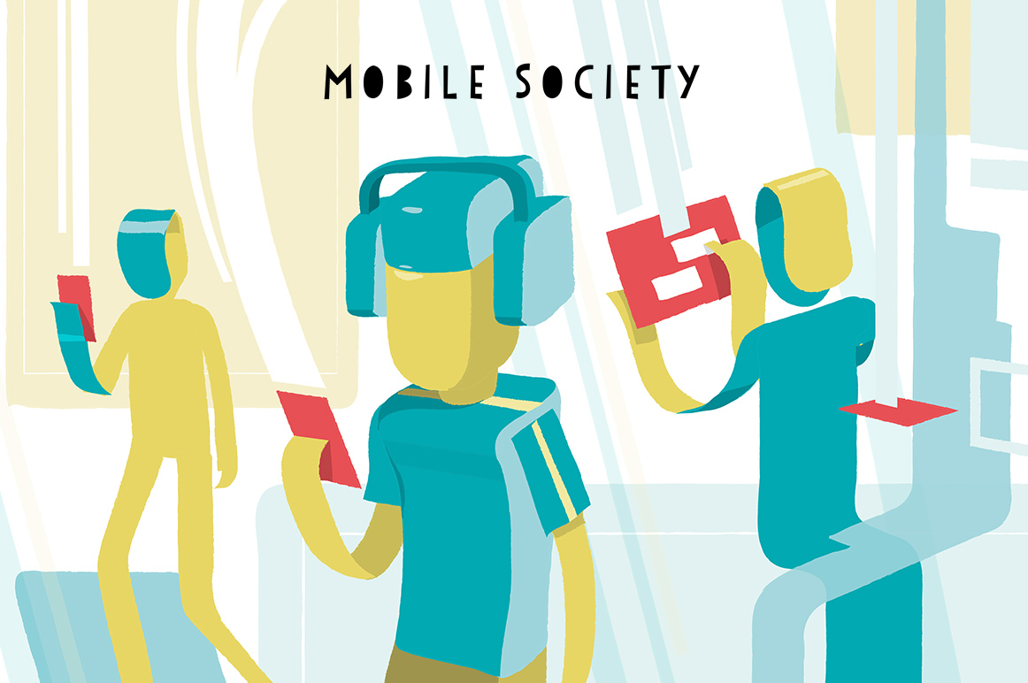 Mobile Society vector graphics illustration