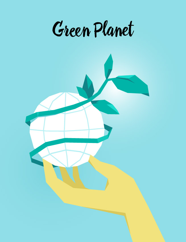 Green Planet vector art available for download on Hurca.com