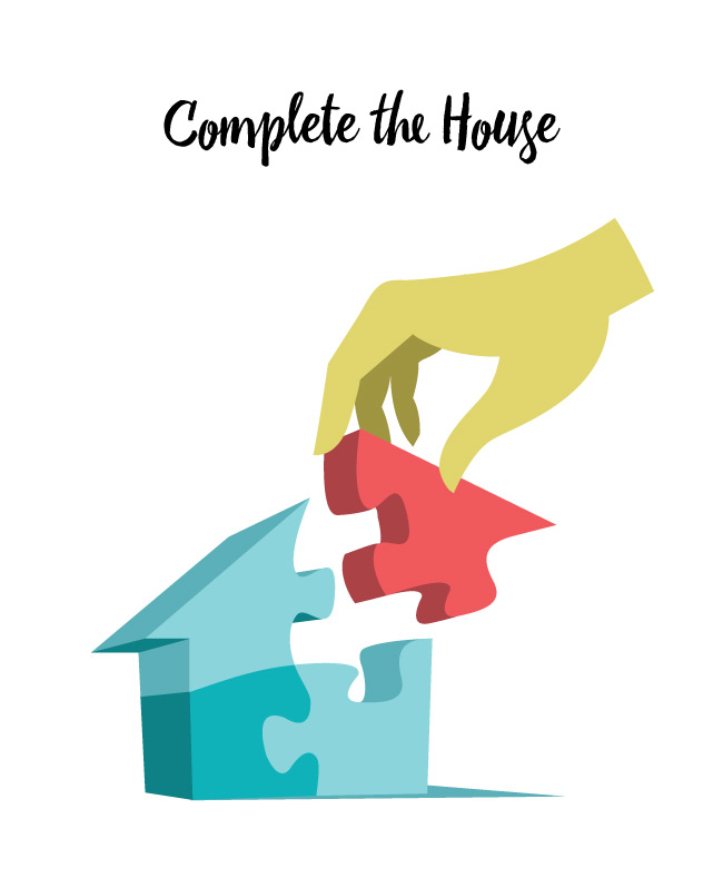 Download Complete the House vector art series by Hurca.com