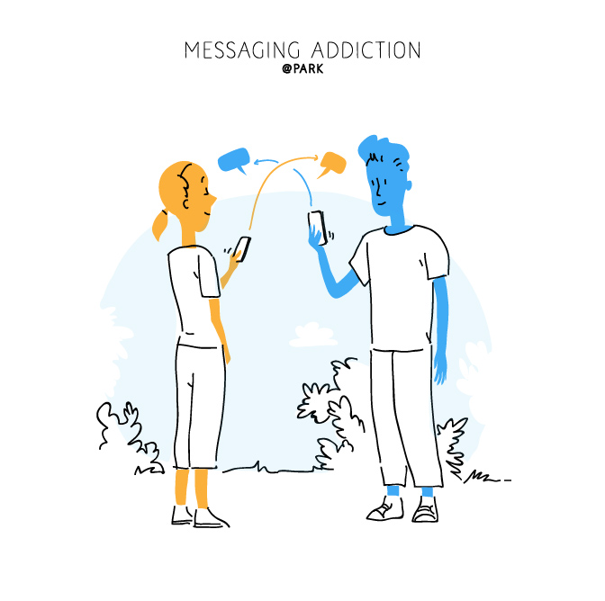 Download Messaging Addiction Lifestyle Vector Art