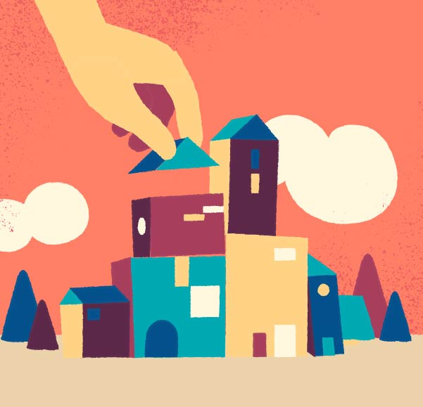 Free Download Little Town Vector Art