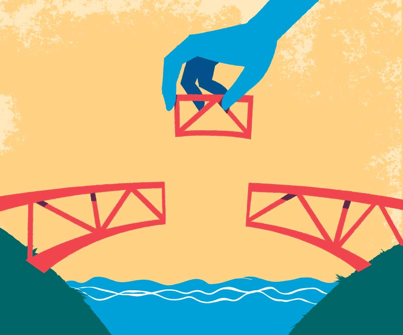 building the bridge vector illustration